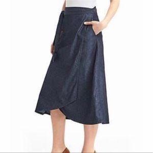 GAP Denim Midi Wrapped Skirt Bow Tie Pockets Flare